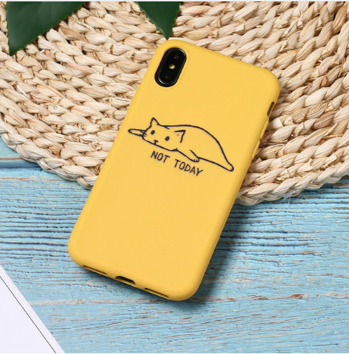 Yellow Cute Cartoon Lazy Cats Spotty Dog Corgi Puppy Soft Matte Phone Case Fundas For iPhone 7Plus 7 6Plus 6 6S 5SE 8 8Plus X XS Max 105