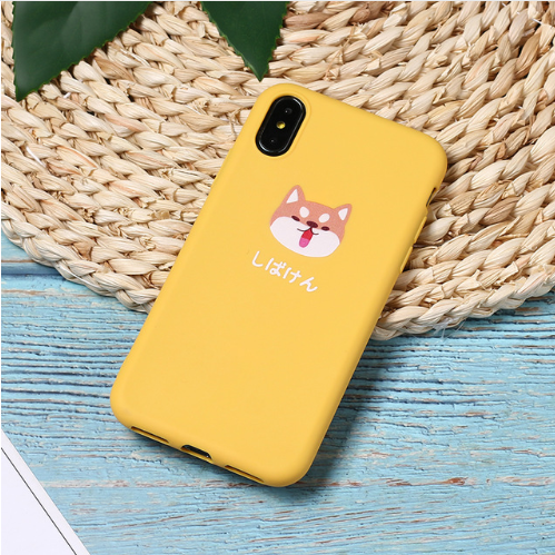 Yellow Cute Cartoon Lazy Cats Spotty Dog Corgi Puppy Soft Matte Phone Case Fundas For iPhone 7Plus 7 6Plus 6 6S 5SE 8 8Plus X XS Max 106